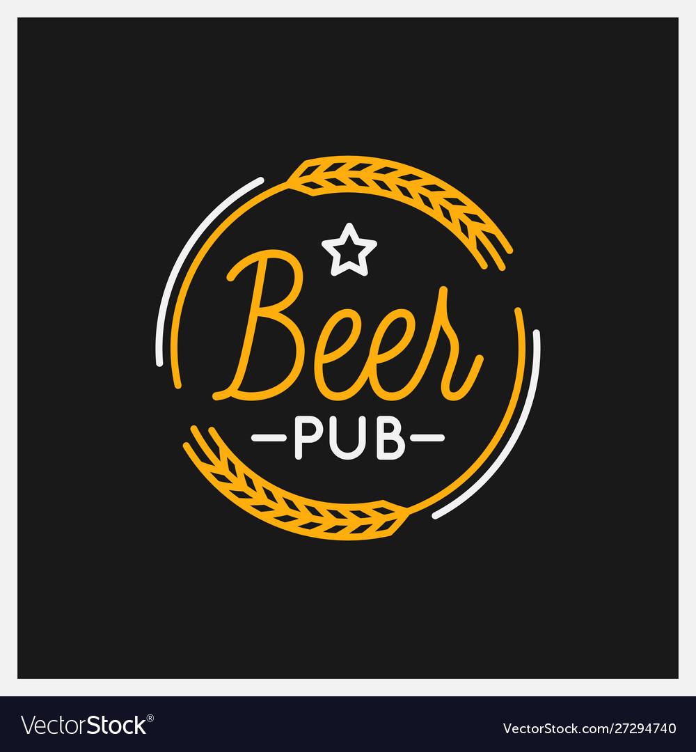 Beer pub logo round linear logo beer on black