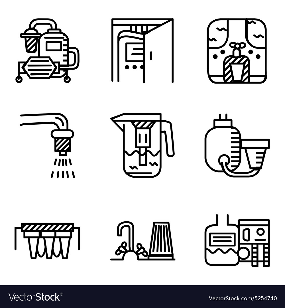 Black line icons for water filters