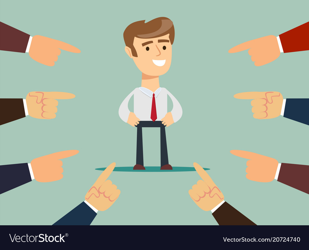 Businessman with fingers pointing