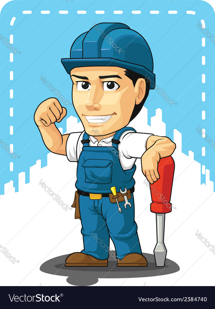 Cartoon of Technician or Repairman vector image