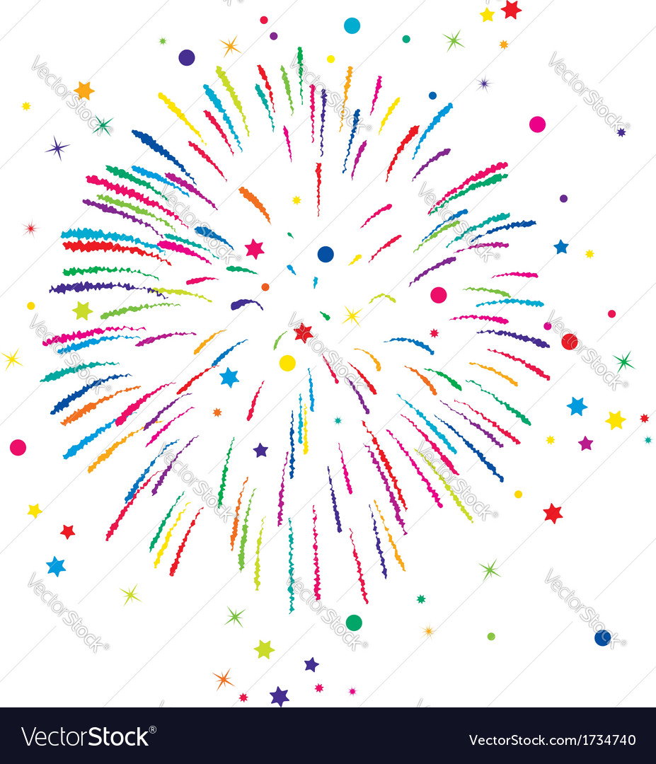 colorful fireworks royalty free vector image vectorstock rh vectorstock com fireworks vector images fireworks vector free