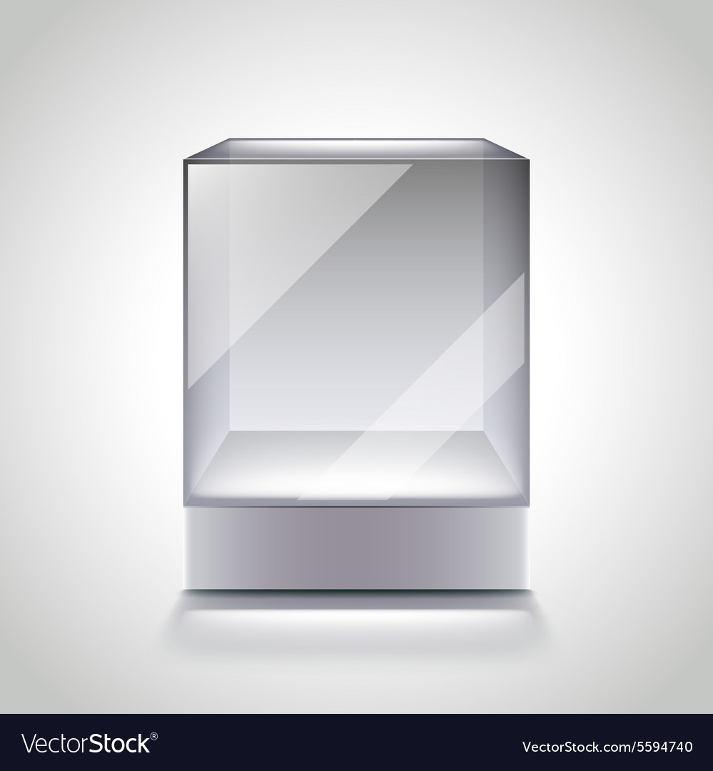 Empty glass cube showcase for exhibition