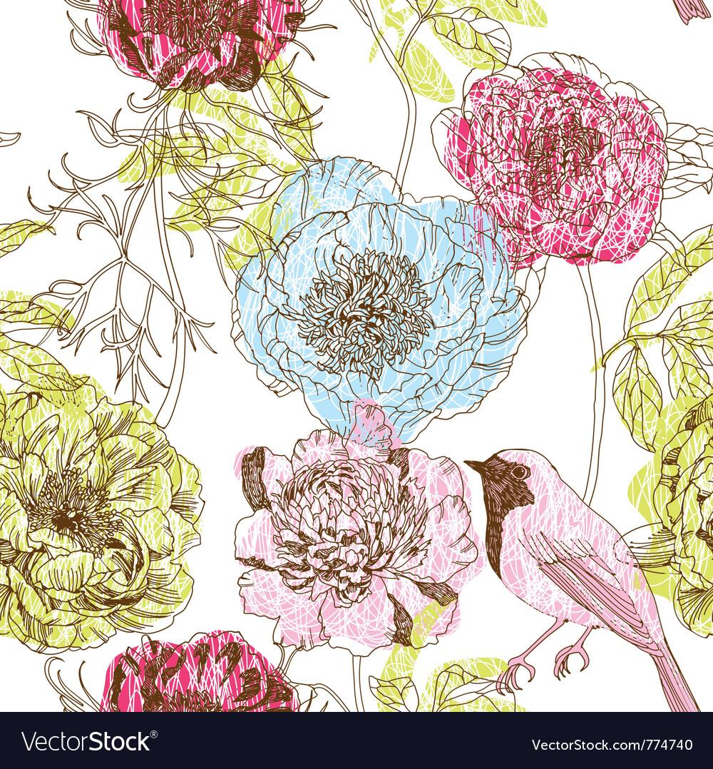 Floral art wallpaper