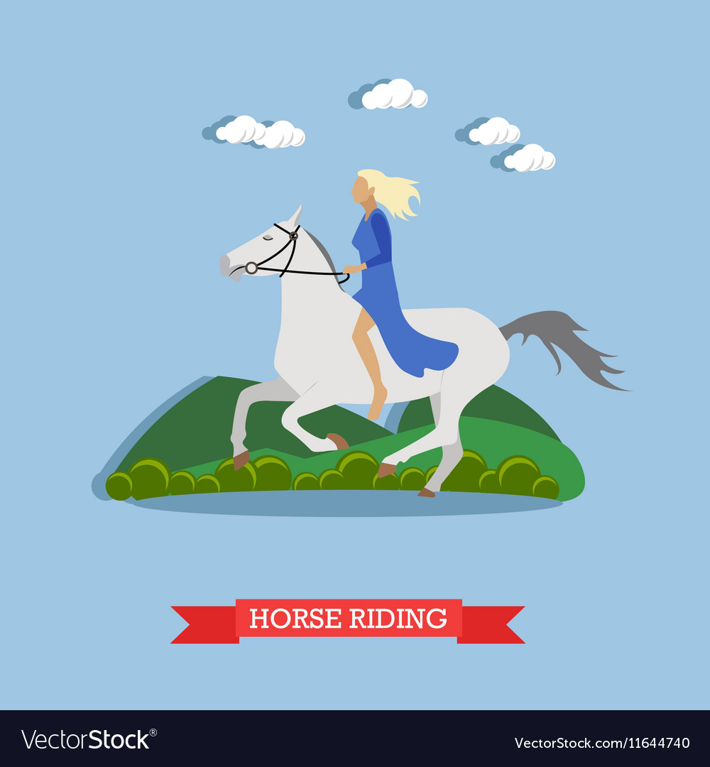 Girl riding a horse flat design