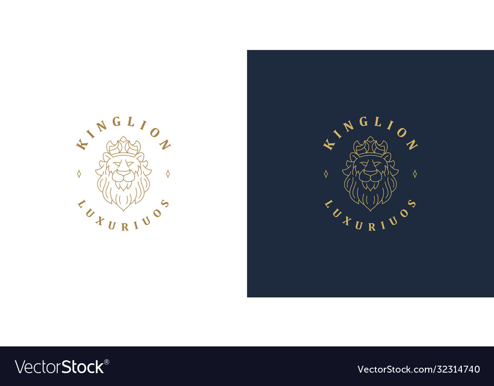 Lion head with crown line symbol logo