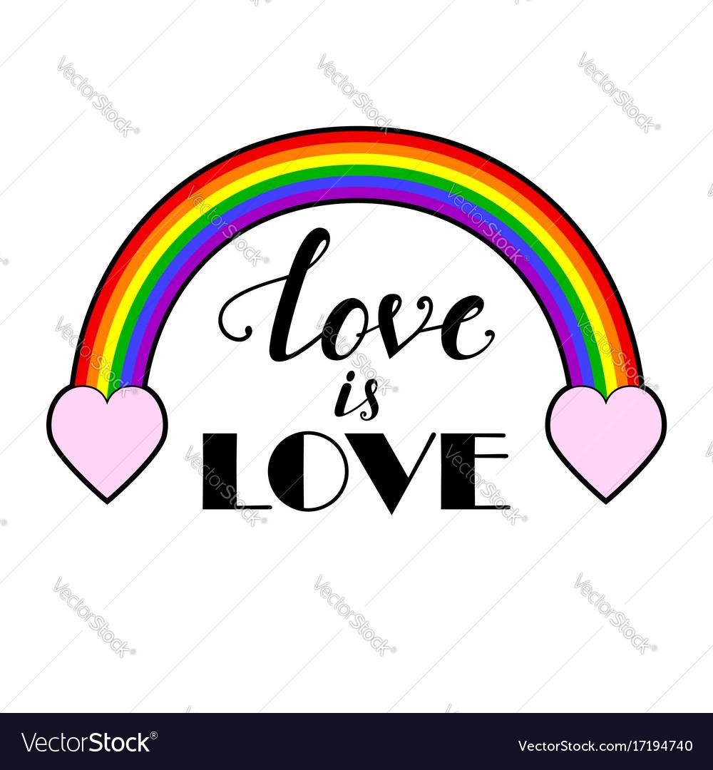 Rainbow with hand drawn inscription