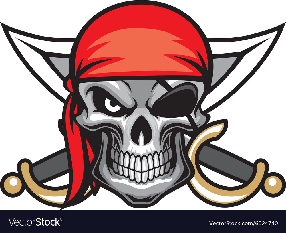 Skull pirate head vector image