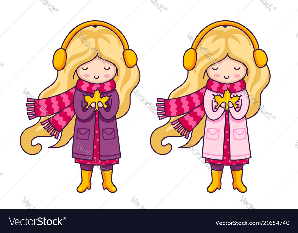 Two cute blonde little girls in pink coats and a