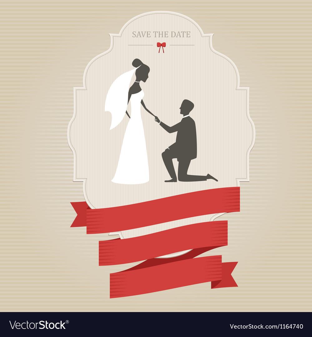Vintage wedding invitation with bride and groom