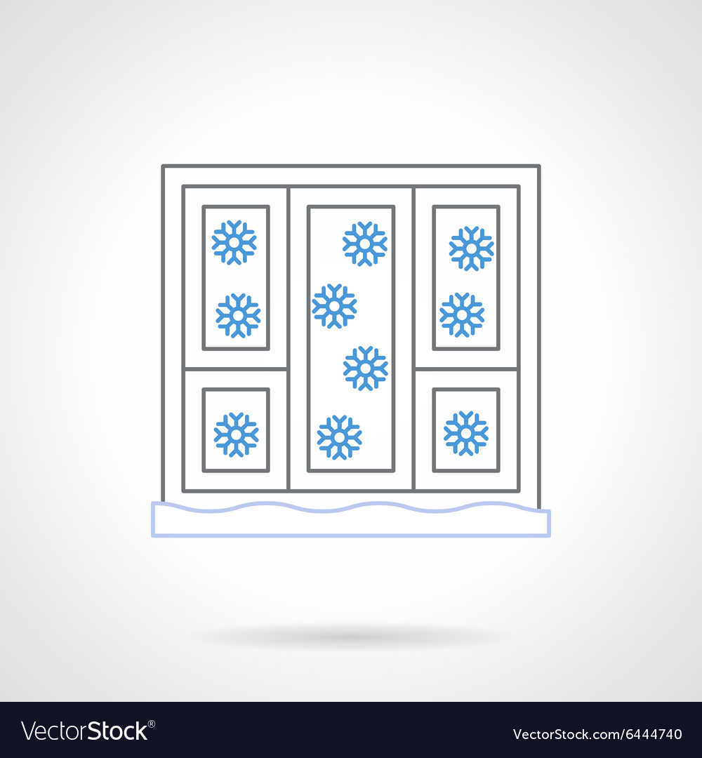 Window with snowflakes flat color line icon