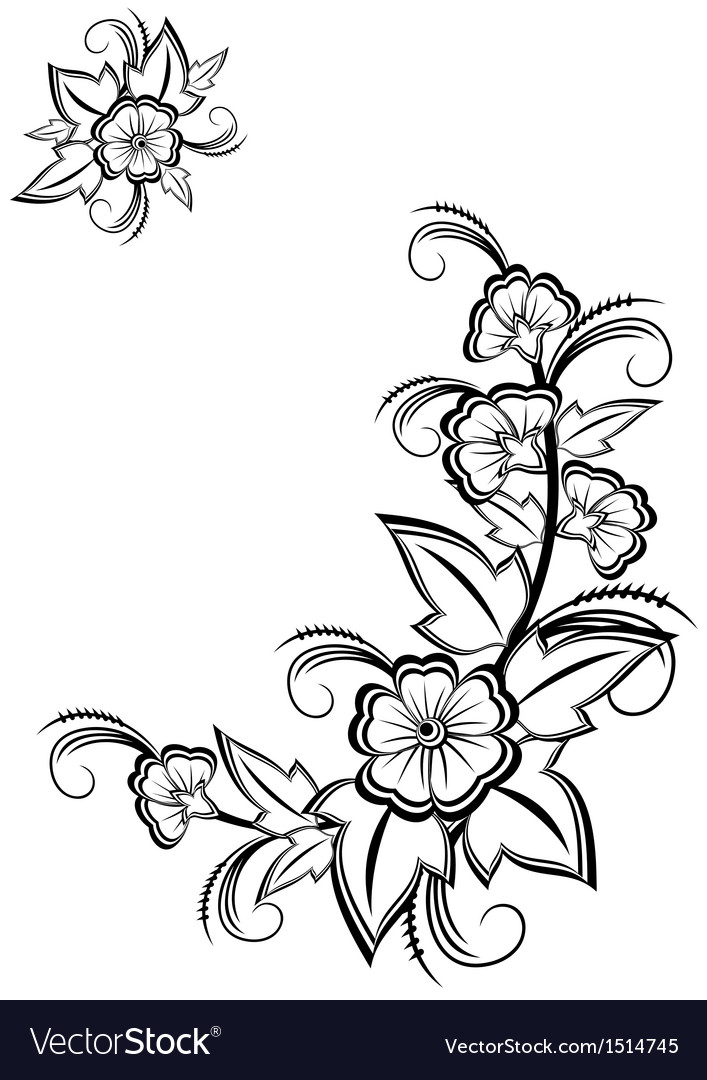 Abstract black and white floral corner