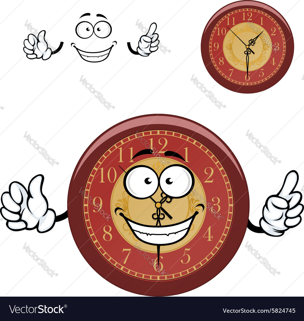 Cartoon Wall Clock With Hands Royalty Free Vector Image