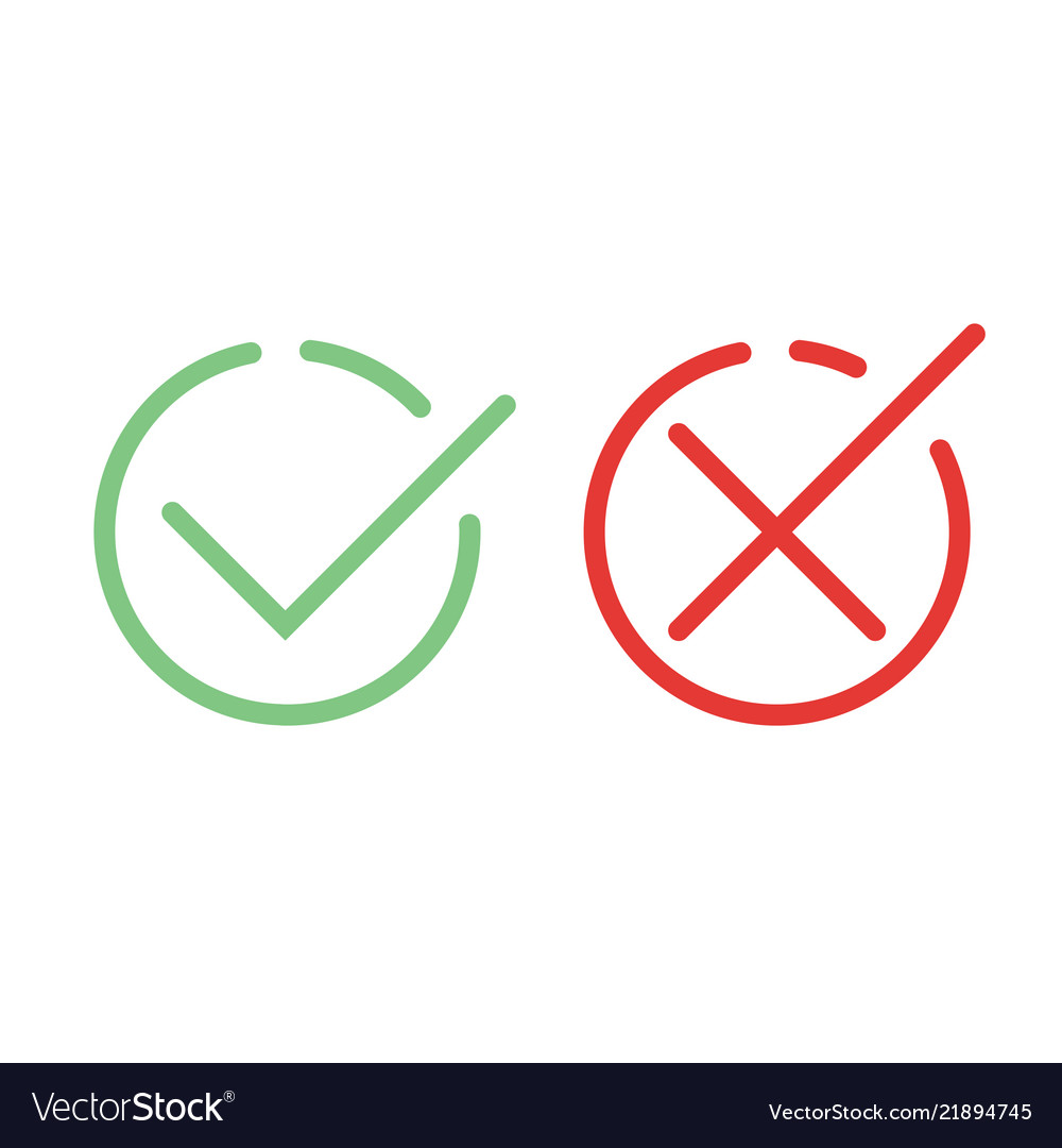 Check mark green and red line icons