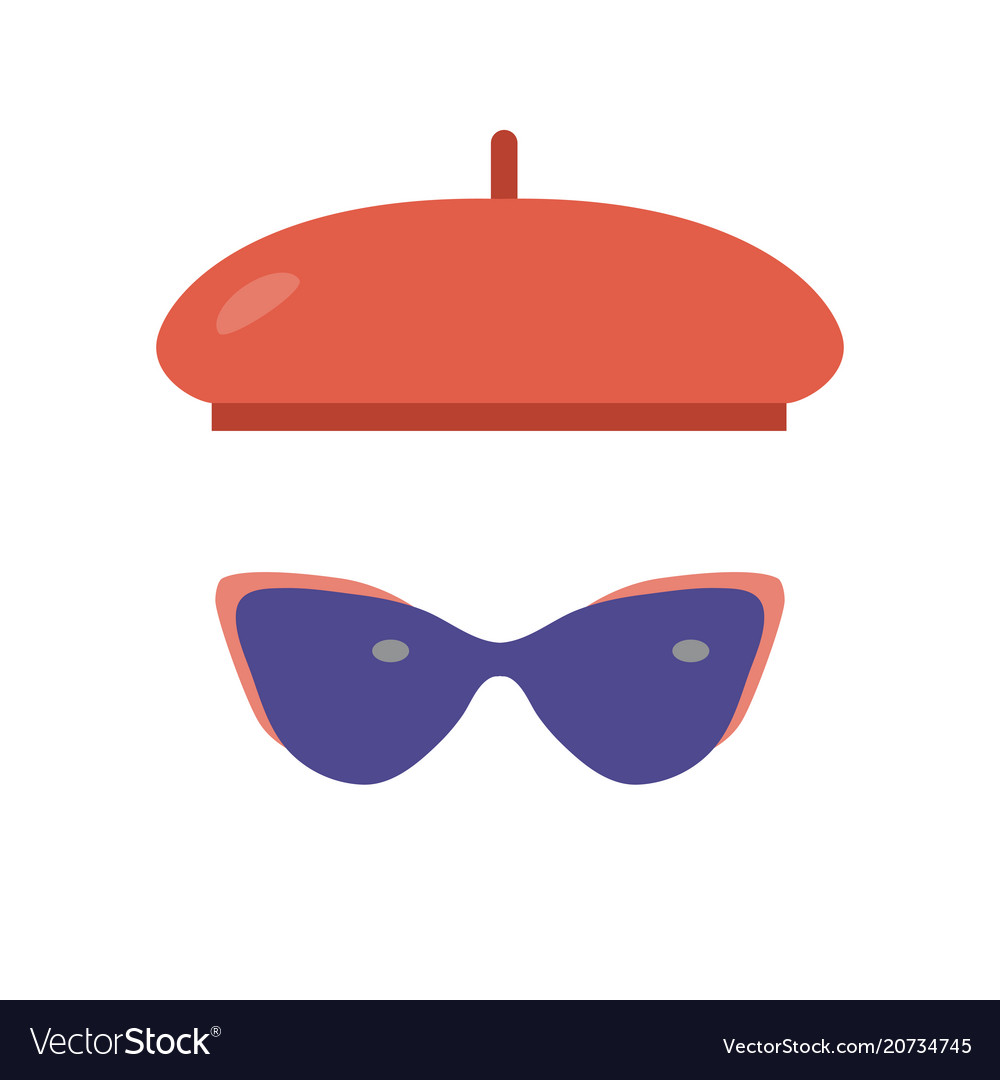 French beret and sunglasses icons
