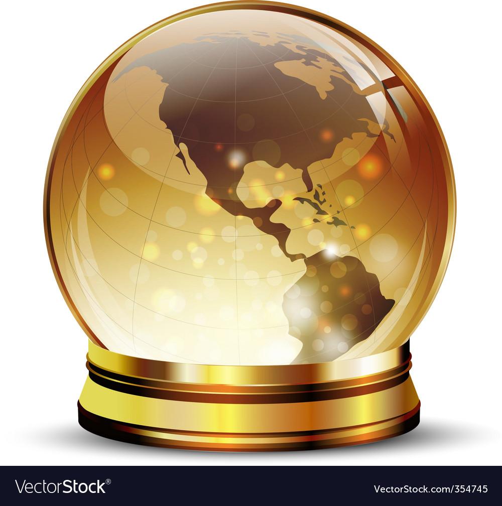 Globe in golden stand vector image