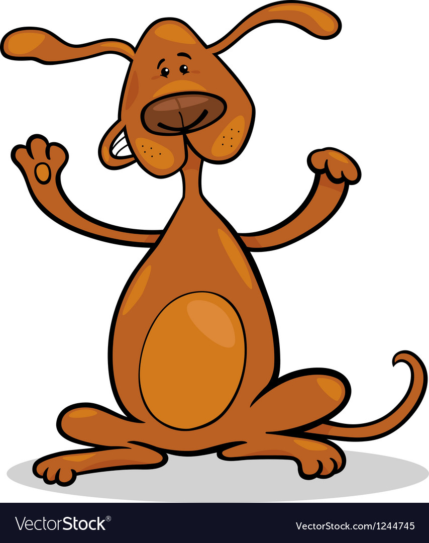 Happy playful standing dog cartoon