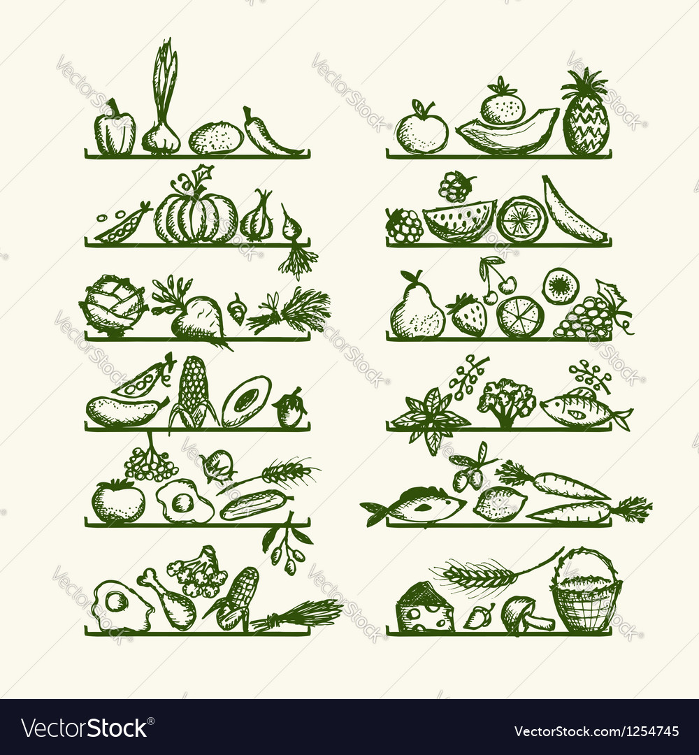 Healthy food on shelves sketch for your design vector image