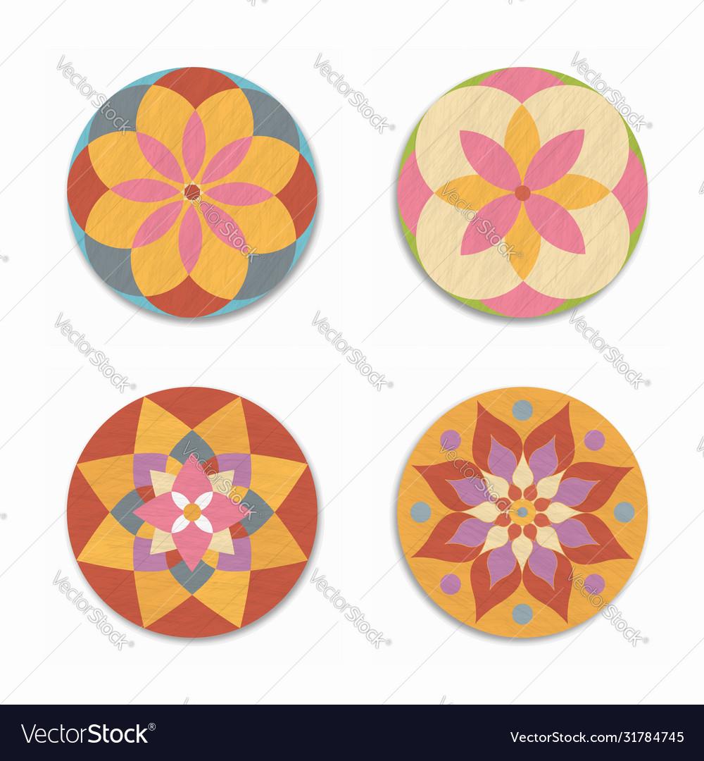 Indian mandala lotus flower icon set isolated