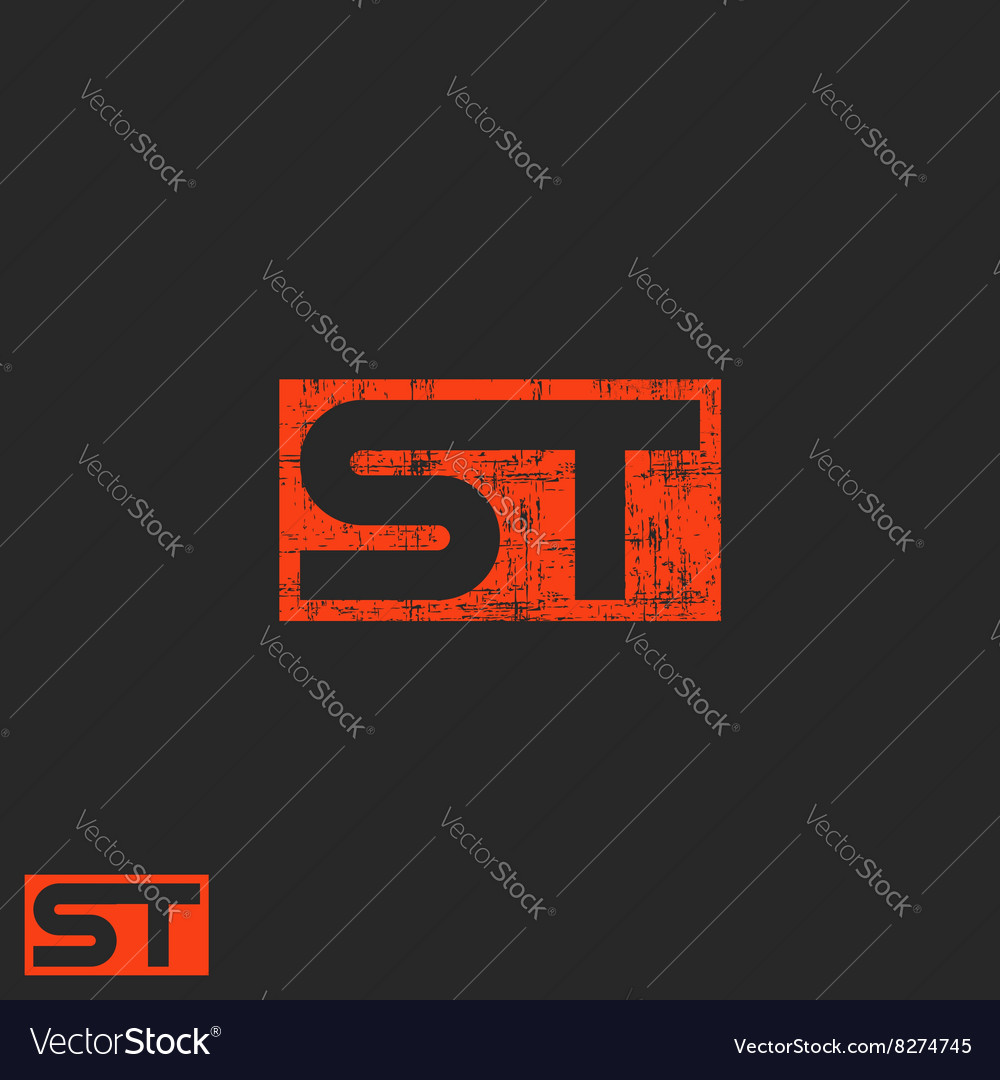 Initials ST logo letters T S worn modern business
