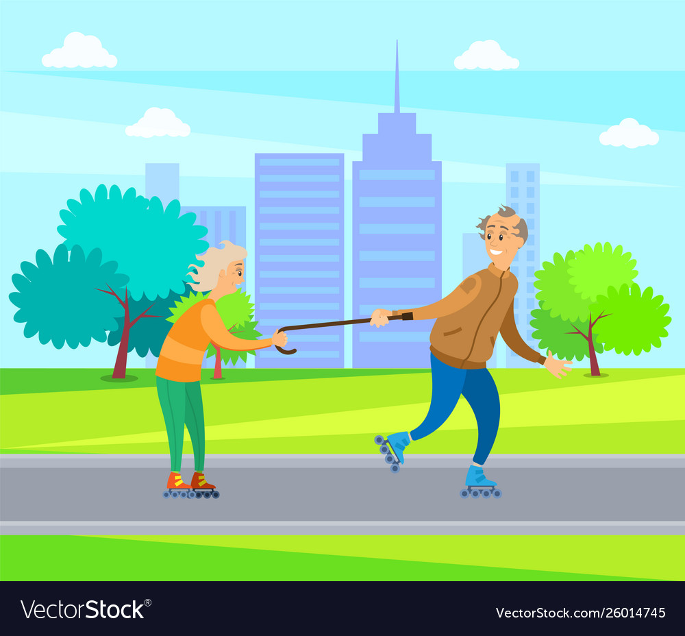 Old people having fun in park man and woman