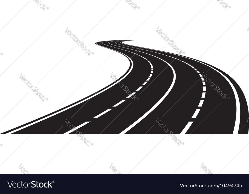 perspective of curved road royalty free vector image rh vectorstock com road vector free download road vector art