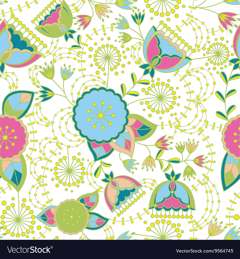 Poppy and dandelion seamless pattern colorful