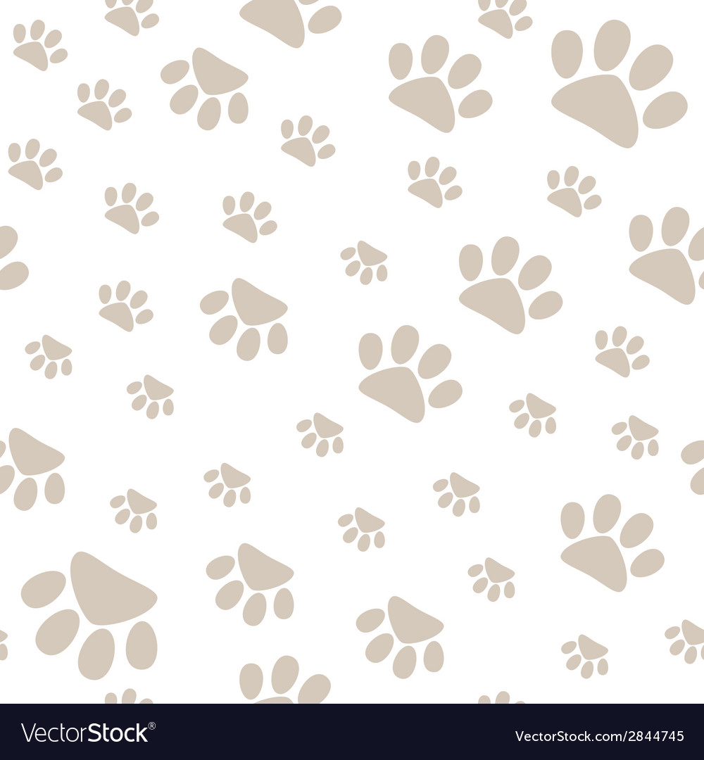 Seamless pattern with pet paws walking in