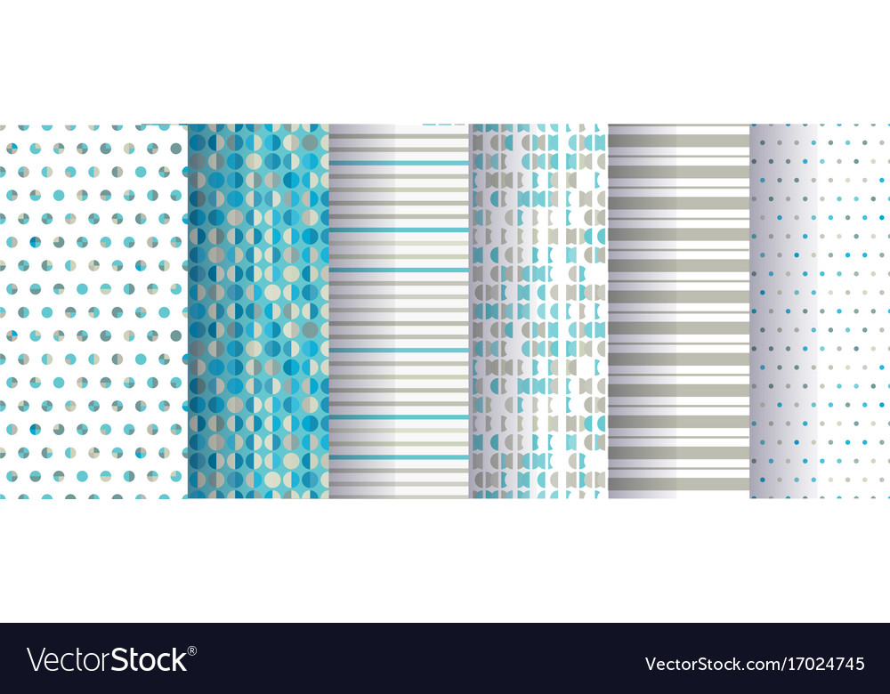 Set of abstract seamless patterns with circles vector image