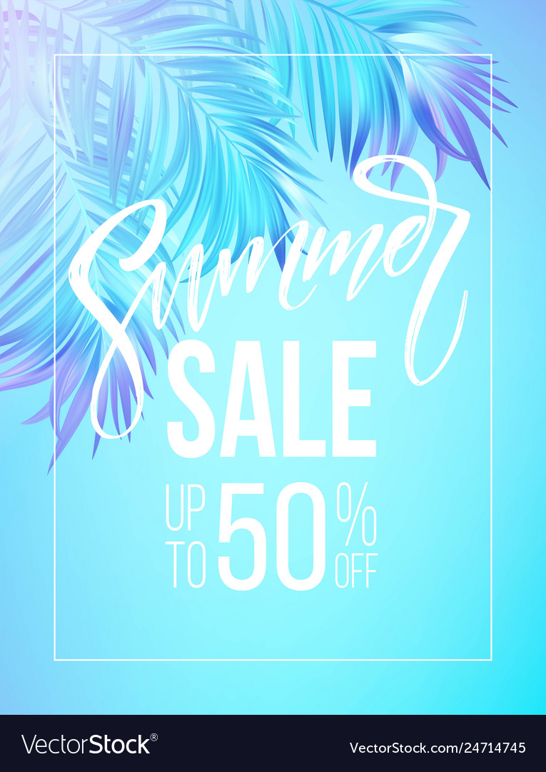 Summer sale lettering design in a colorful blue
