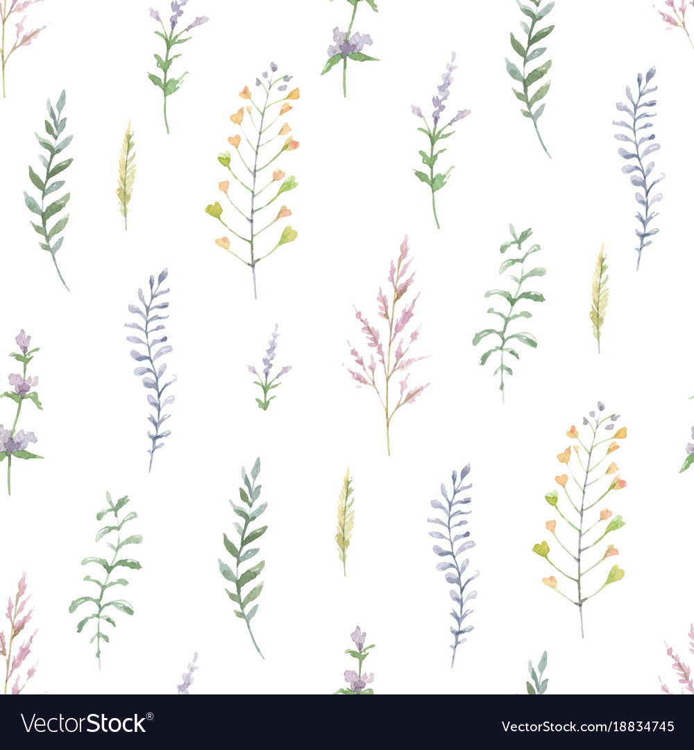 Watercolor seamless pattern of branches and leaves