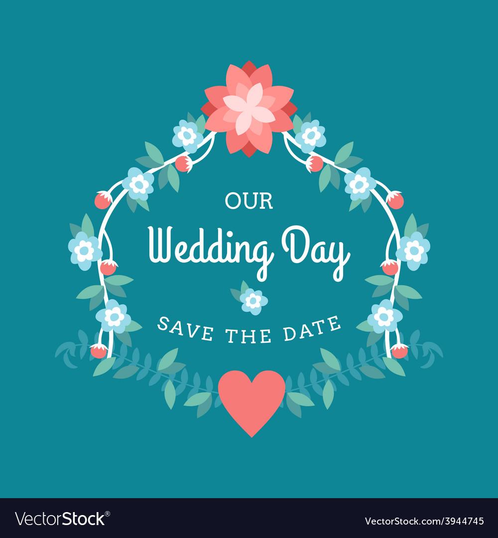 wedding label badges stamp and floral design vector image