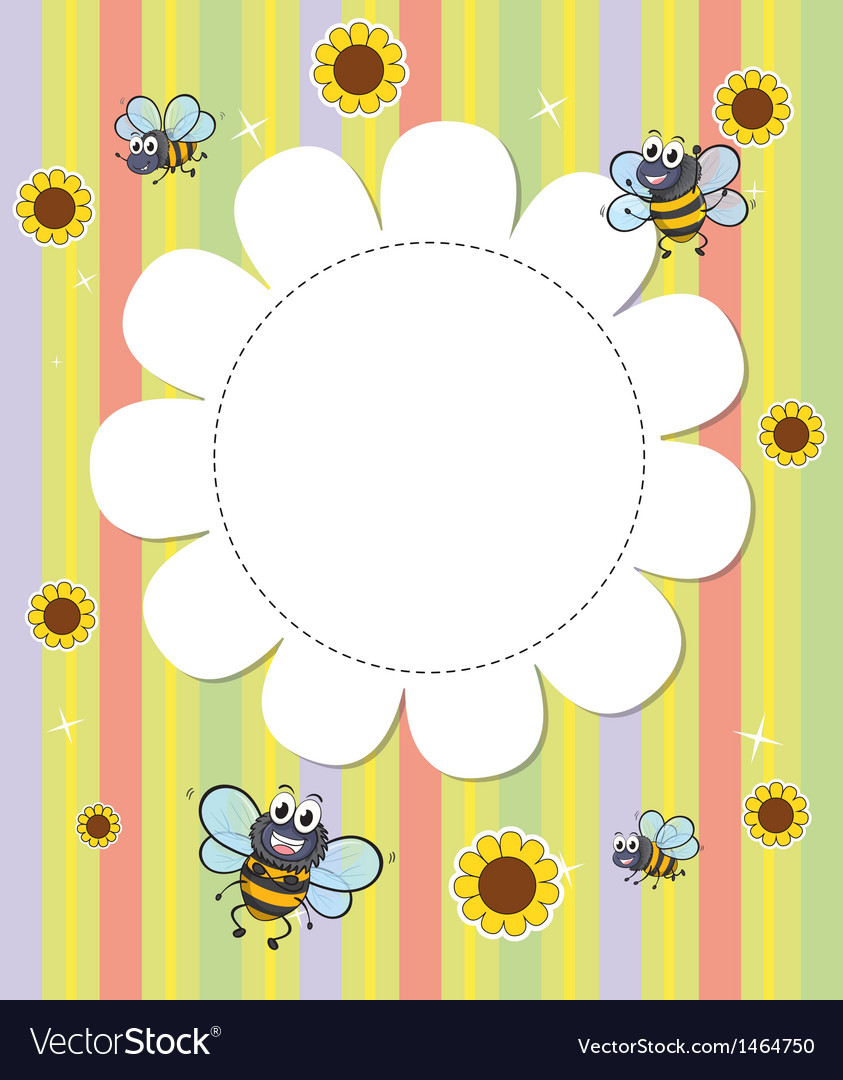 A flowery designed empty template with bees Vector Image