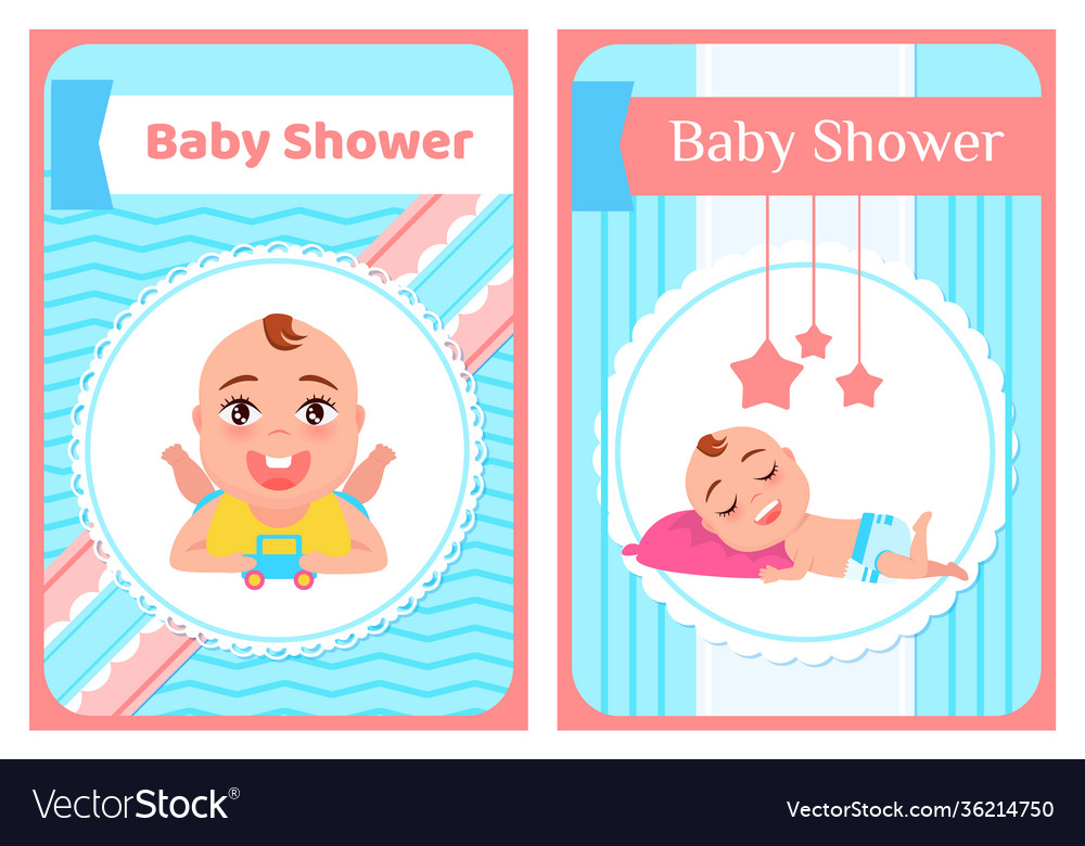Bashower greeting card with babies boy or girl