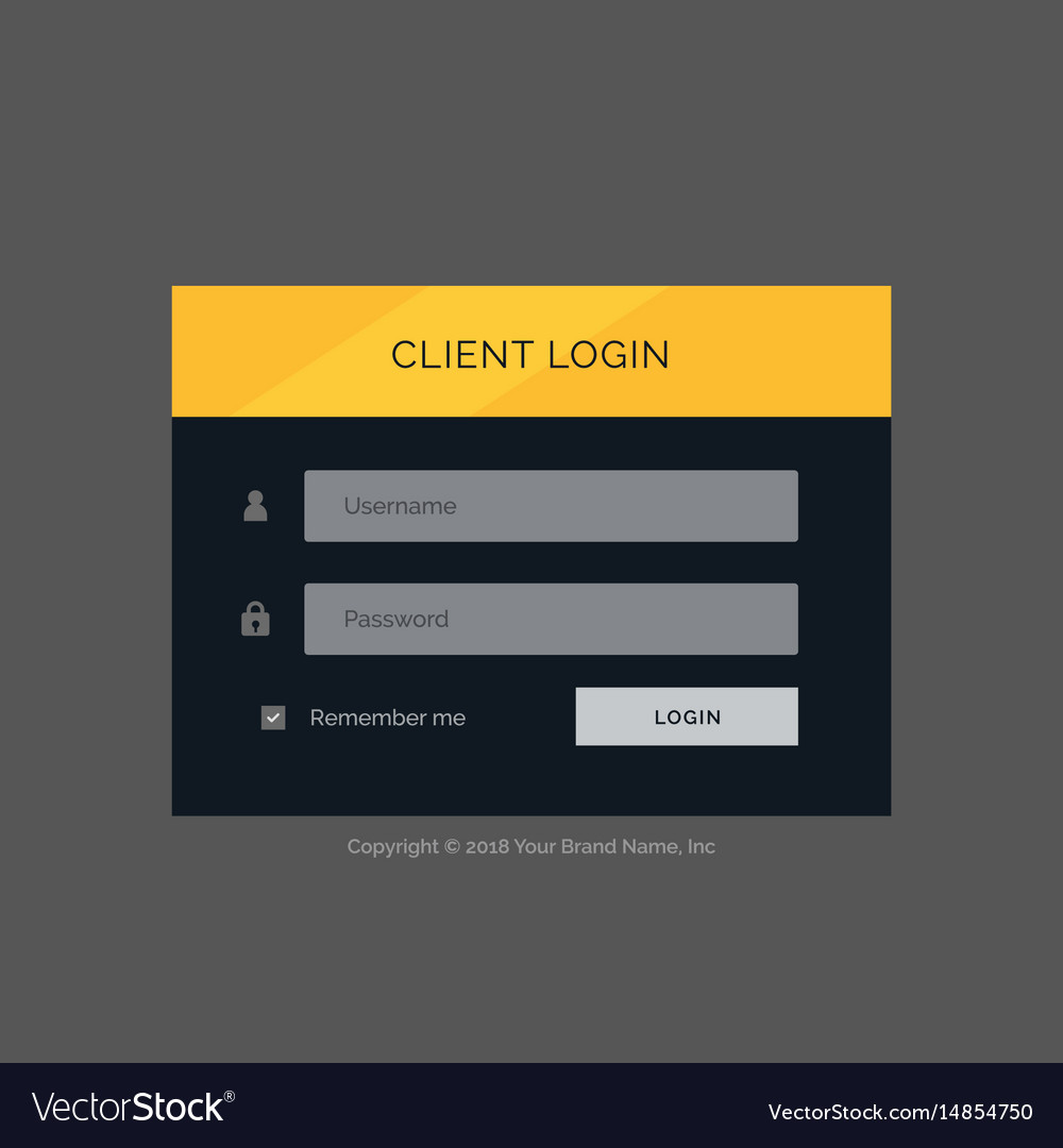 Flat modern login form ui template design
