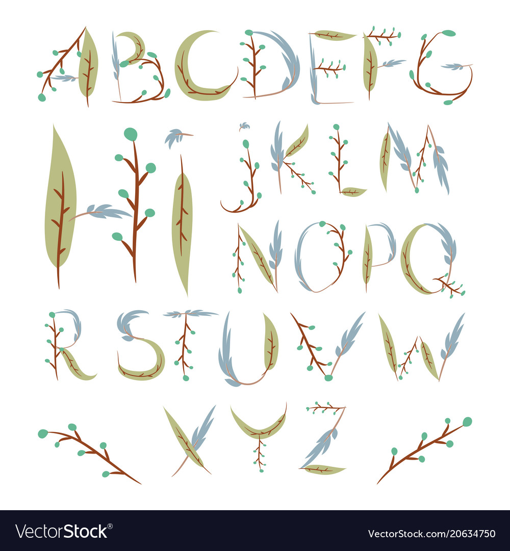 Floral alphabet made of berries and leaves hand
