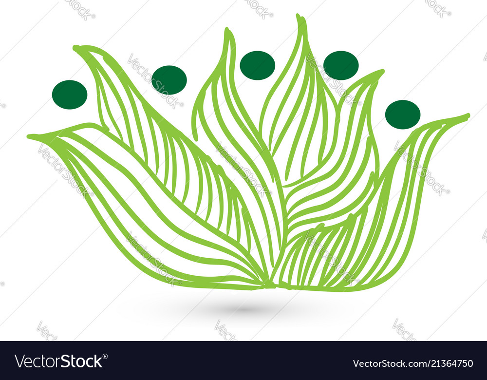 Green leaf grass people figures icon
