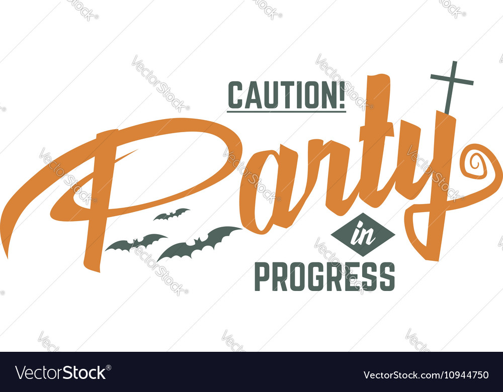 Halloween party label template with scary symbols vector image