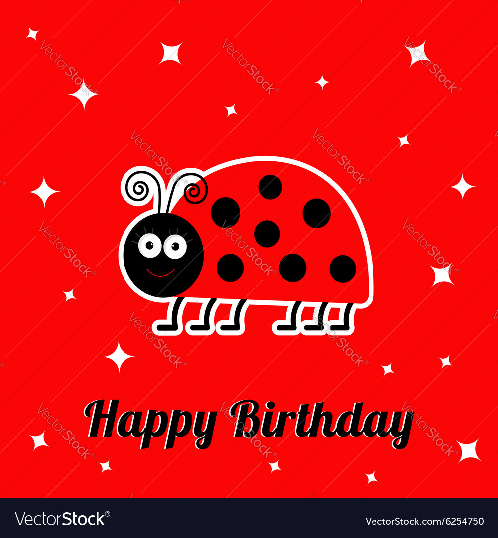 Happy birthday card with cute lady bug ladybird vector image stopboris Images
