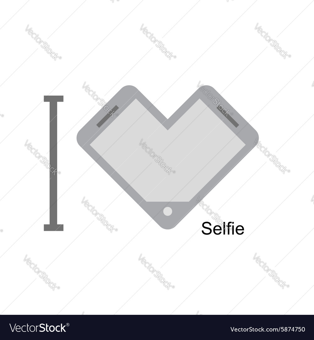 I love selfi Phone as a symbol of heart I vector image