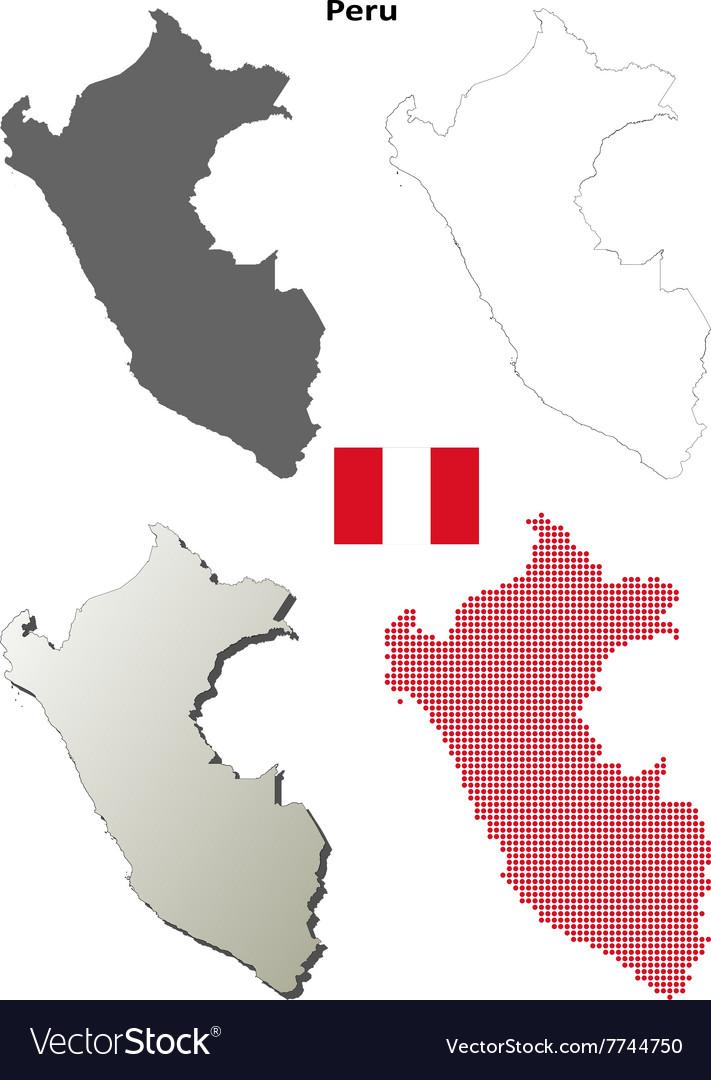 Peru outline map set vector image