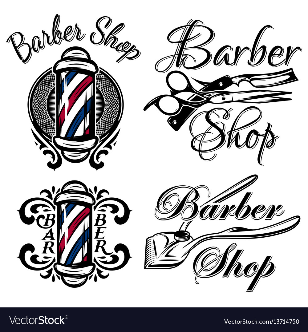 Set of retro barber shop logo isolated on the vector image