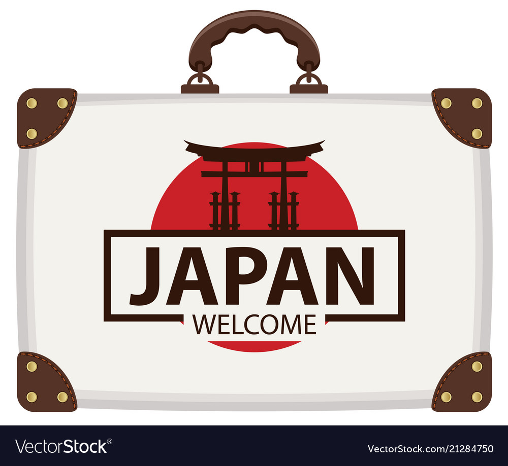 Travel bag with japanese flag and torii gate