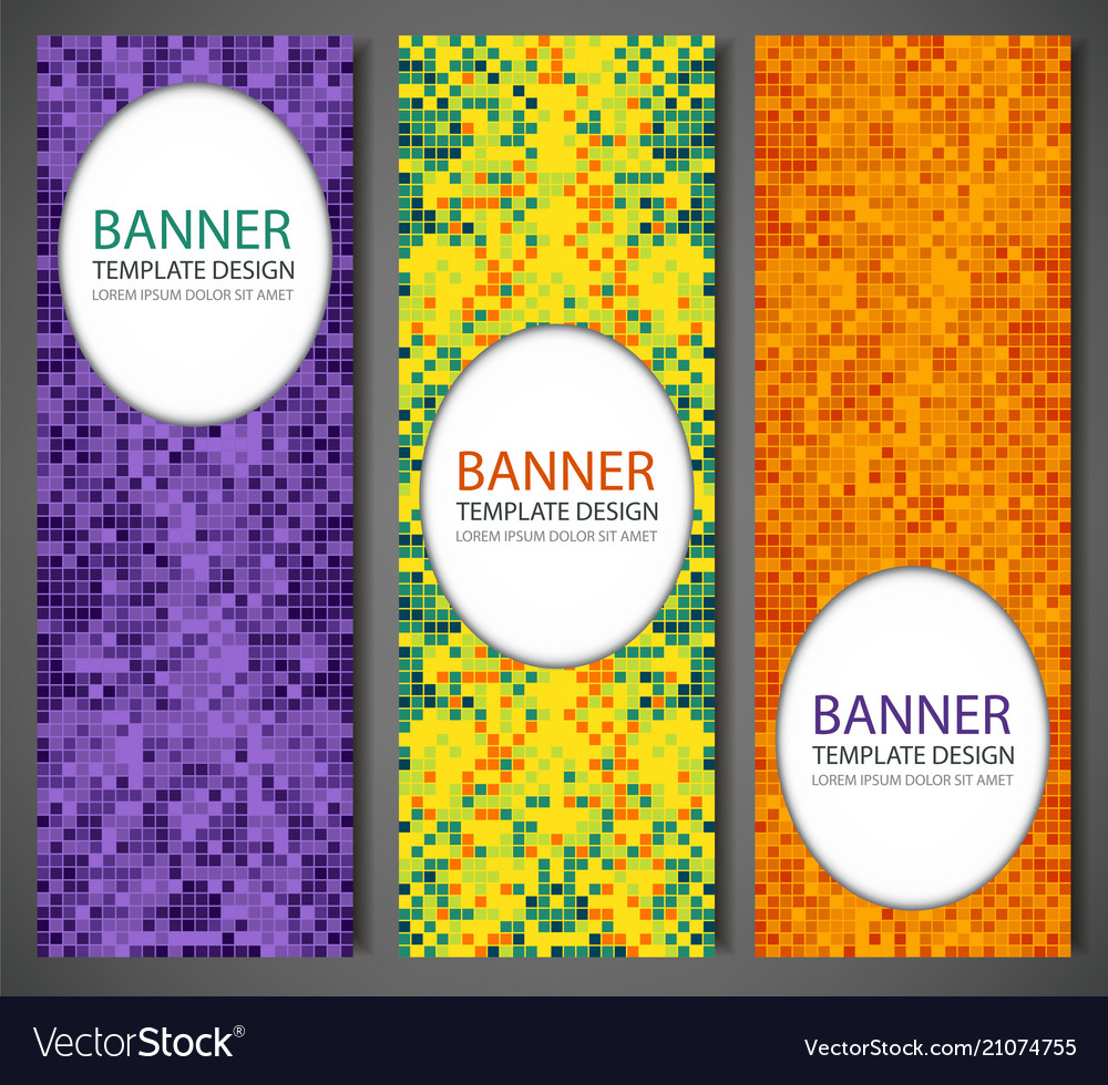 Abstract banners set with colorful pixel