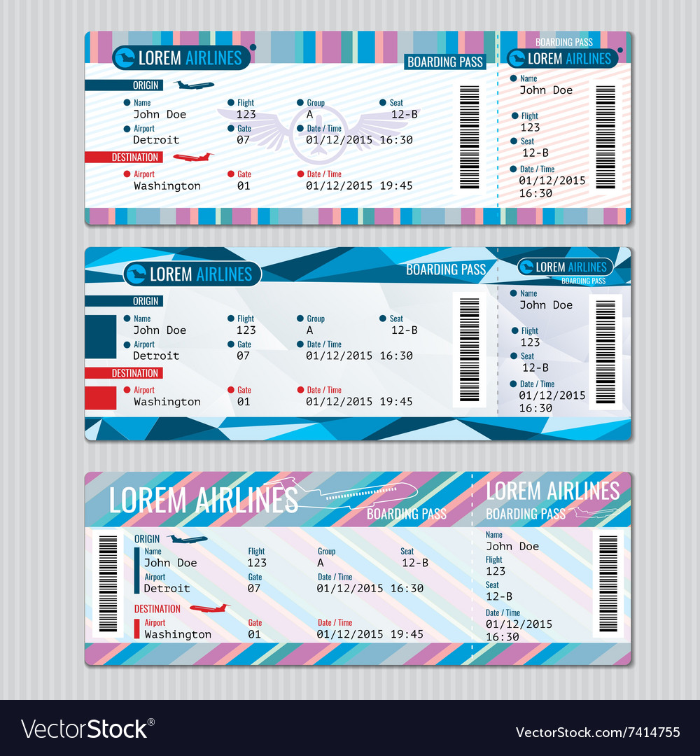 Airline boarding pass tickets template