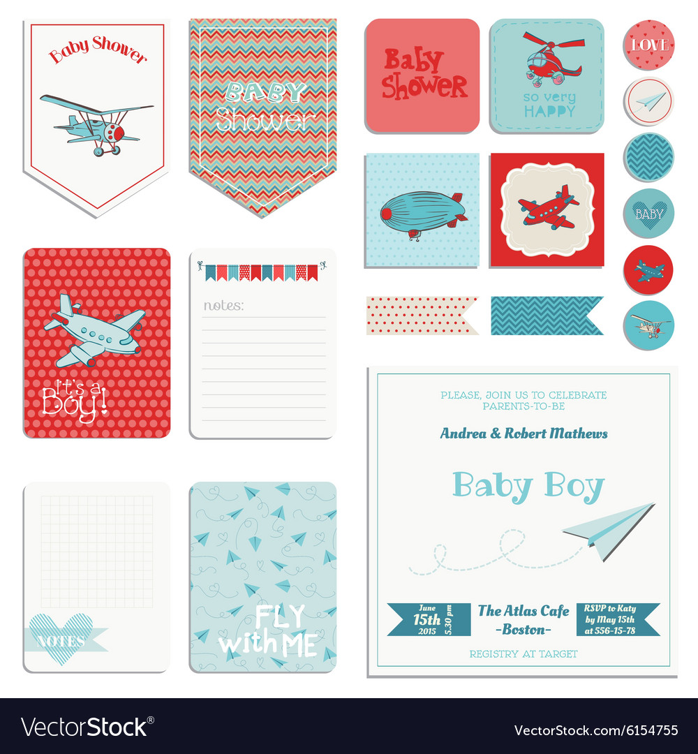 baby shower boy set tags banners labels cards vector image