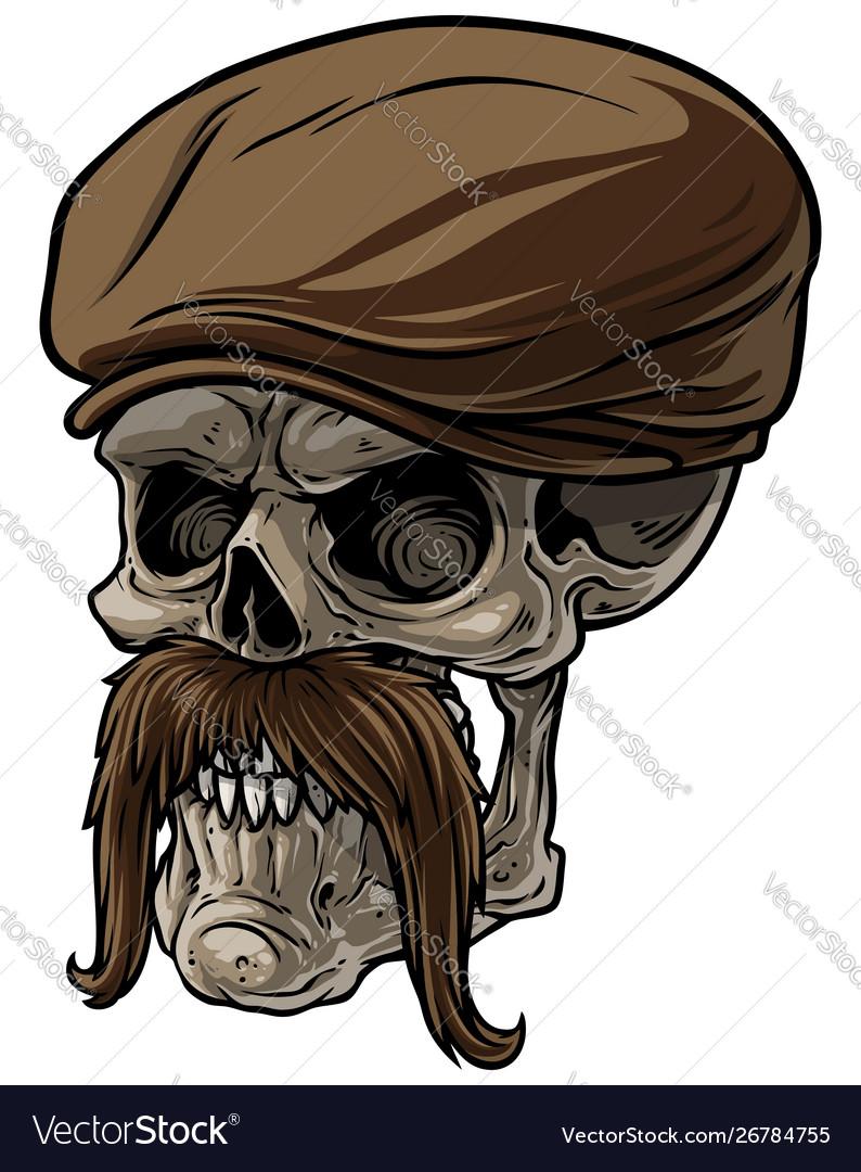 Cartoon human skull in peaked cap with mustache