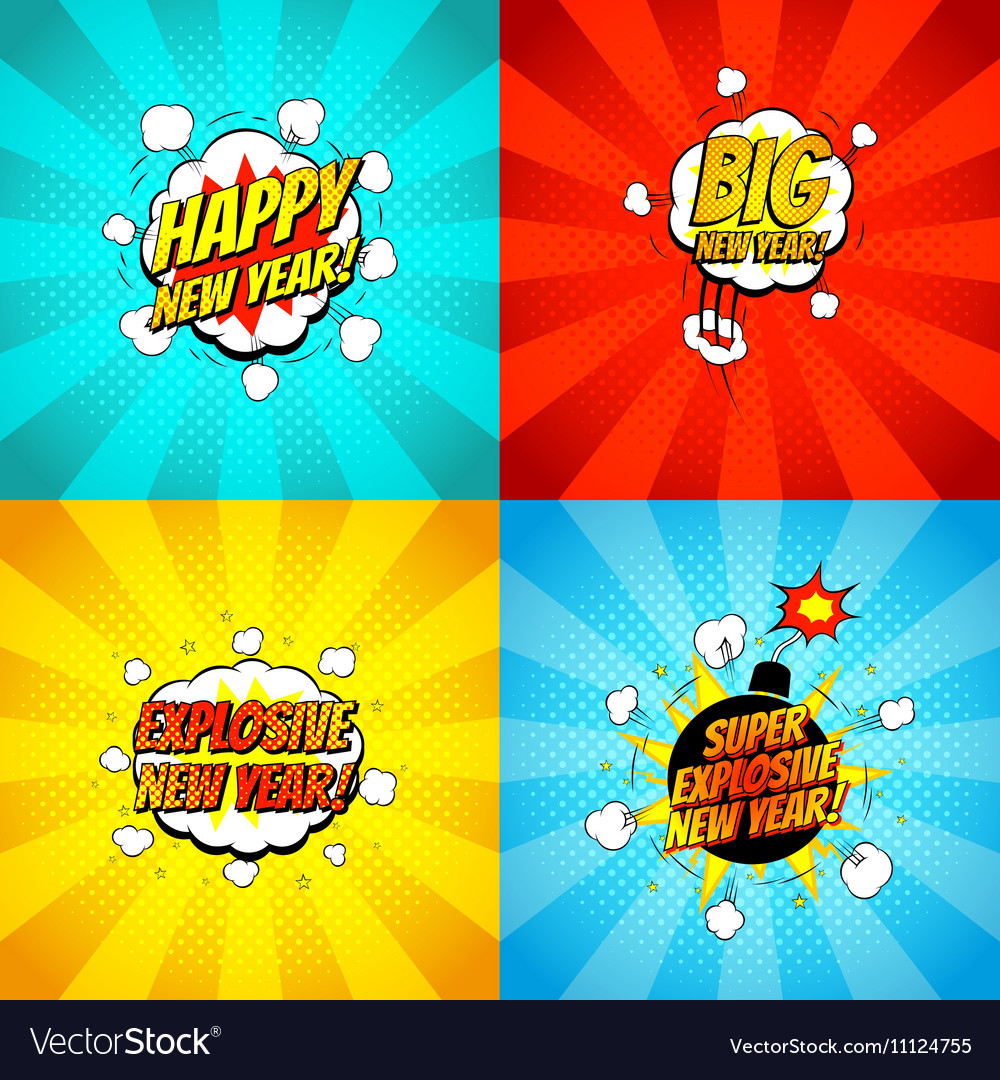 Collection of comic happy new year banners
