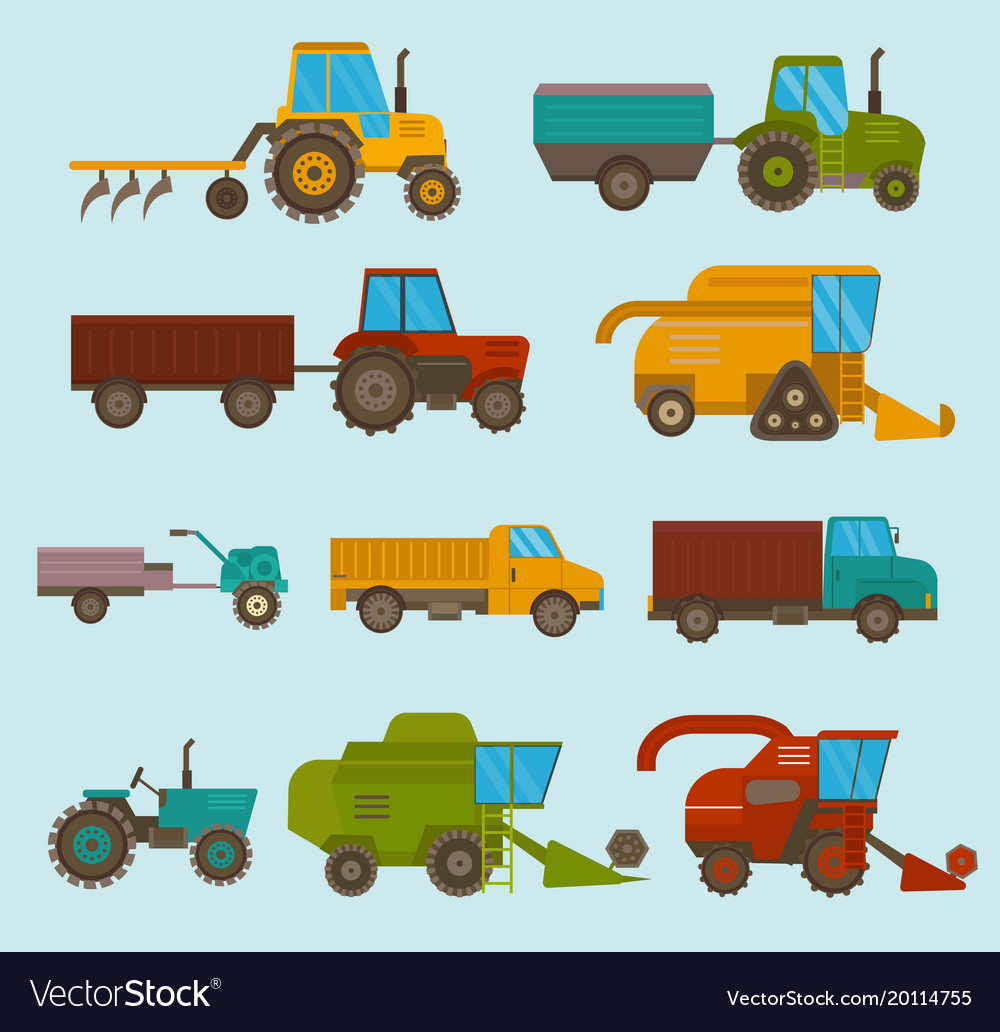 Different Types Agricultural Vehicles And Vector Image