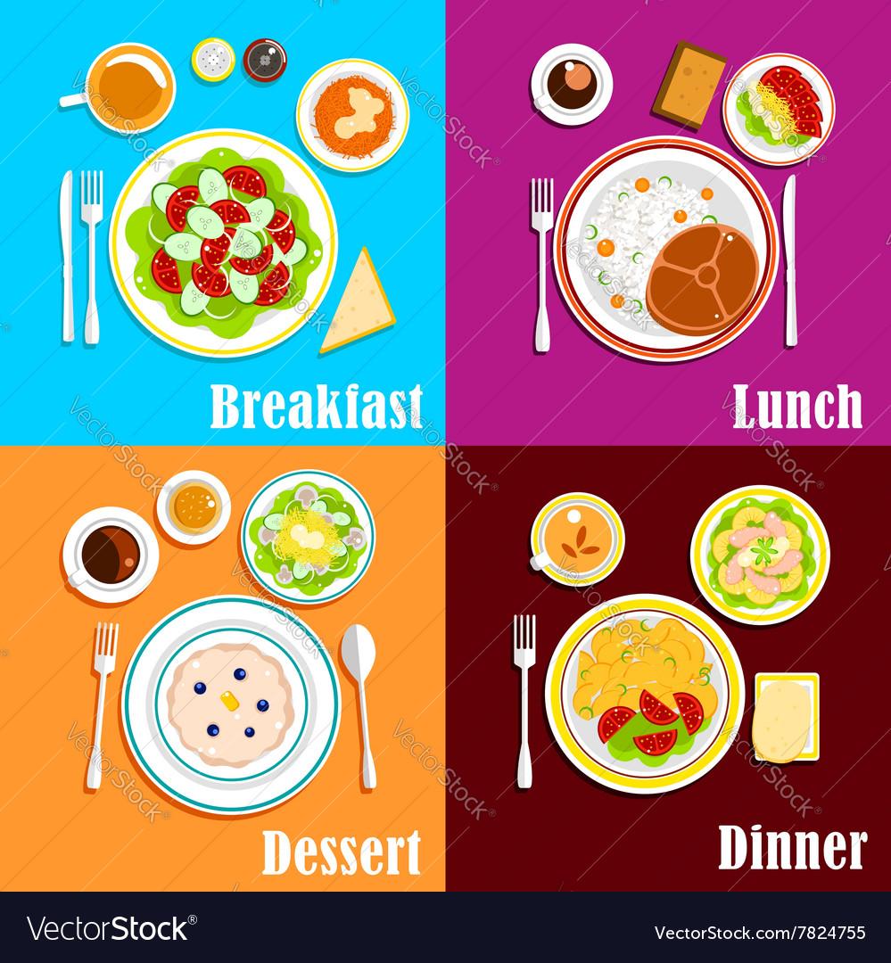 European breakfast dinner and lunch