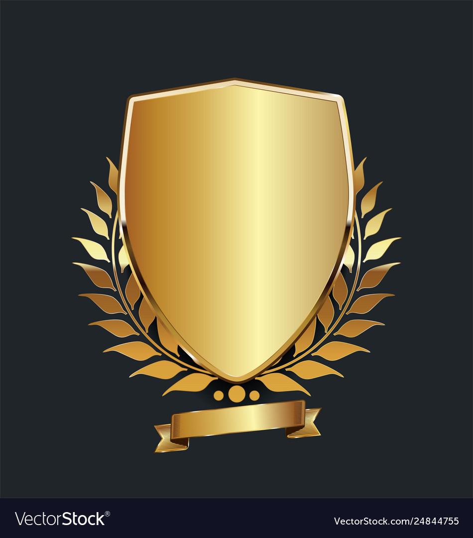 Golden shield with golden laurel wreath 05